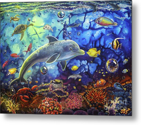 Past Memories New Beginnings Dolphin Reef Metal Print