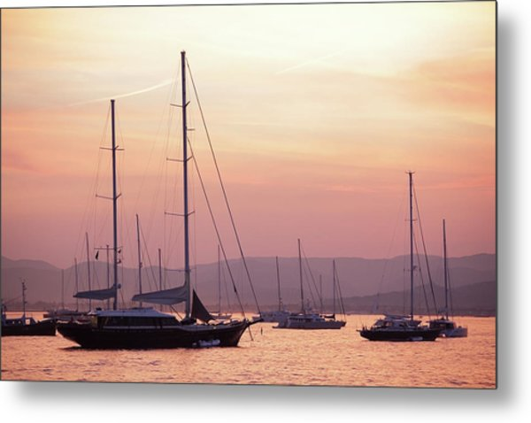 Pastel Dusk Sky And Yachts Metal Print by Secablue