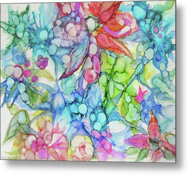 Pastel Flowers - Alcohol Ink Metal Print