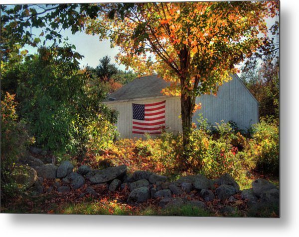 Metal Print featuring the photograph Patriotic White Barn In Autumn by Joann Vitali