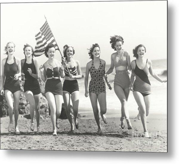 Patriotic Women At The Beach Metal Print