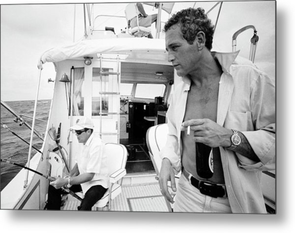 Paul Newman On A Fishing Boat Metal Print