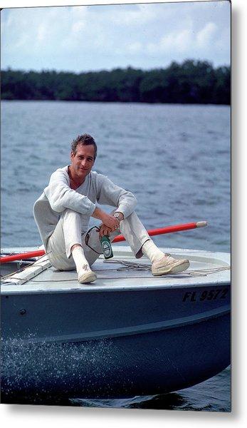 Paul Newman On Boat Metal Print by Mark Kauffman