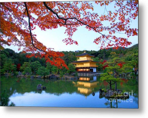 Peaceful Golden Pavilion Temple In Metal Print