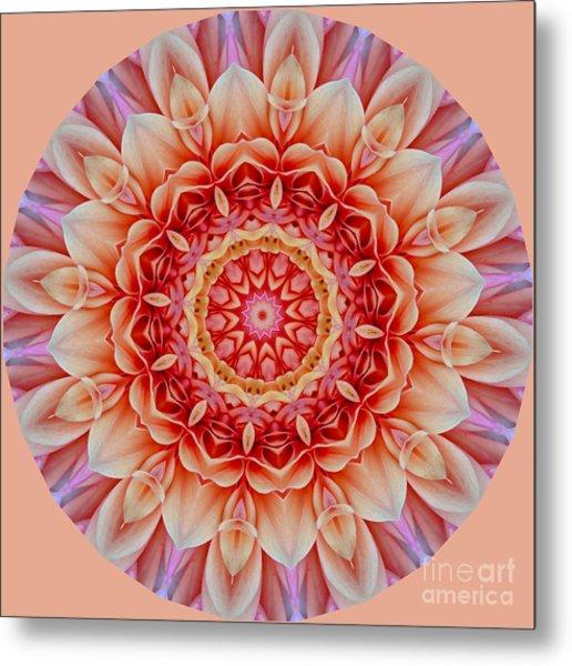 Peach Floral Mandala Metal Print