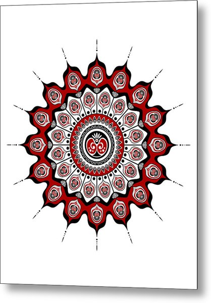 Peacock Feathers Mandala In Black And Red Metal Print