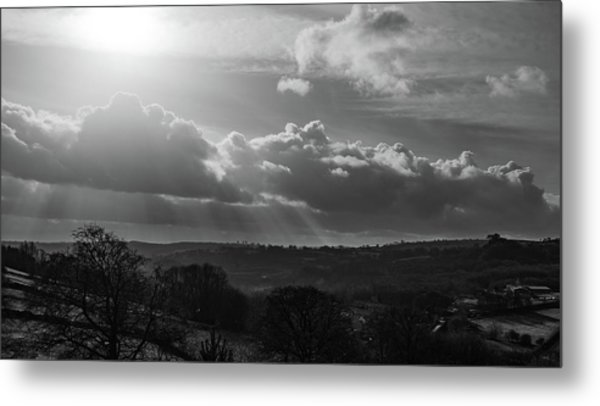 Peak District From Black Rocks In Monochrome Metal Print