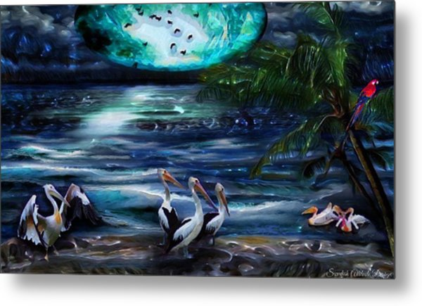 Pelicans On The Shore Metal Print