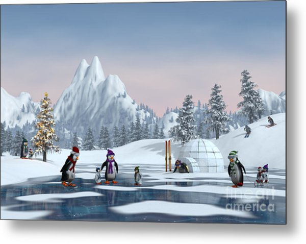 Penguins On A Frozen Lake In A Snowy Metal Print by Sara Winter
