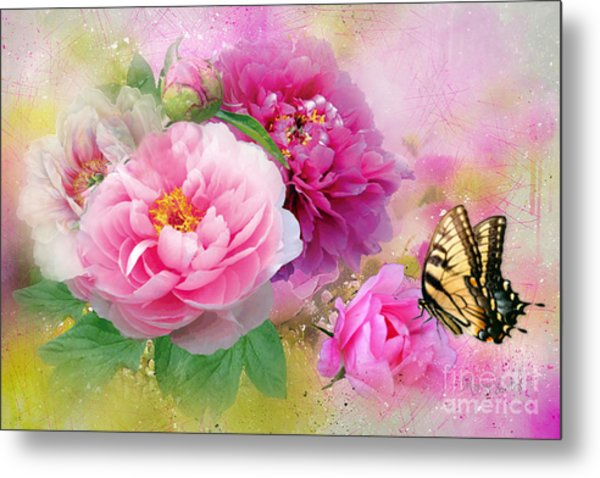 Peonies And Butterfly Metal Print