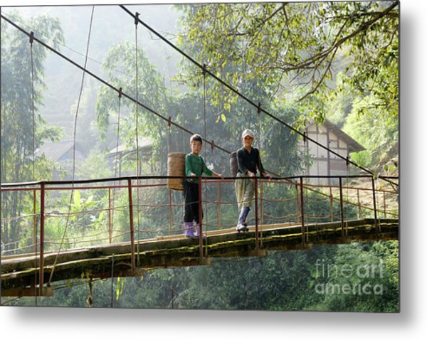 People And Children From Sapa, Mountainous Area Of Northern Vietnam In Their Daily Life. Metal Print