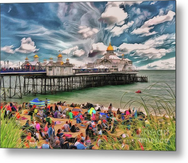 Metal Print featuring the photograph People And The Pier by Leigh Kemp