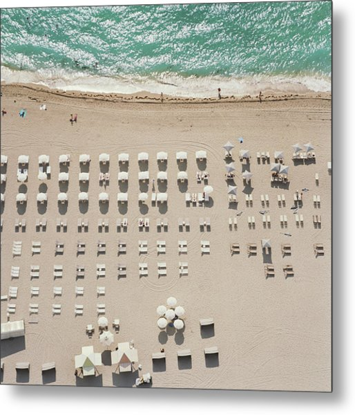 People At Beach, Using Rows Of Beach Metal Print