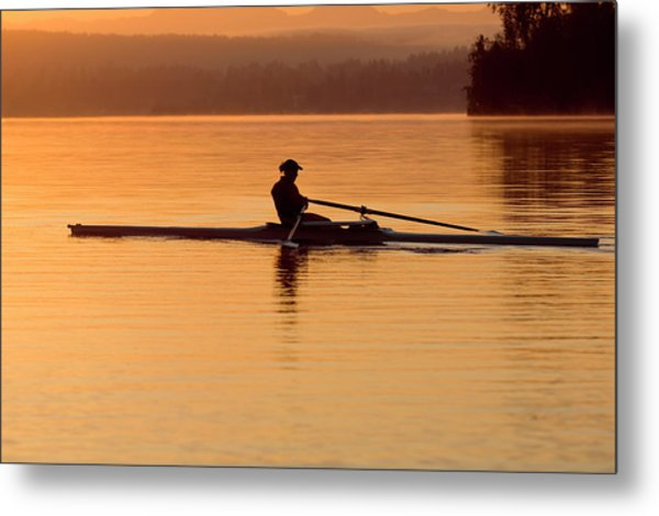 Person Rowing Sculling Boat On River Metal Print by Pete Saloutos