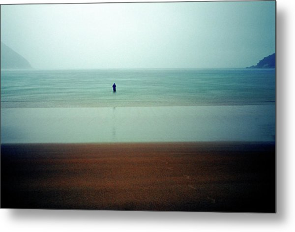Person Standing In Sea During A Storm Metal Print