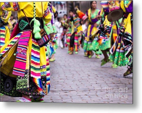 Peruvian Dancers At The Parade In Cusco Metal Print
