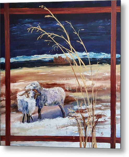 Phil And Alice Navajo Sheep    38 Metal Print