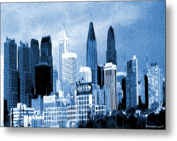 Philadelphia Blue - Watercolor Painting Metal Print