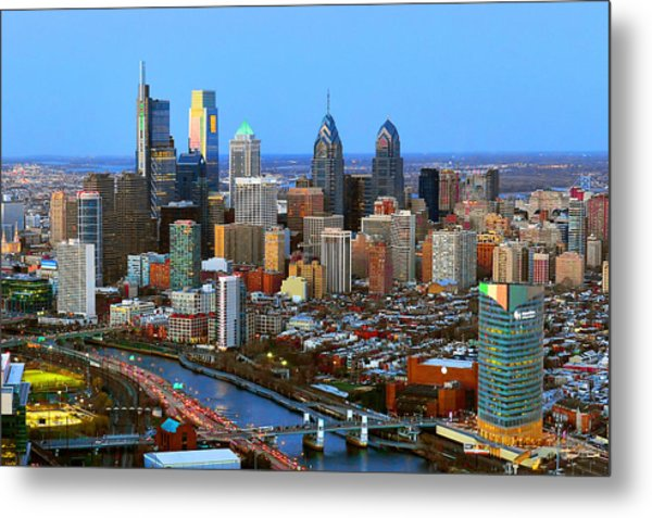 Philadelphia Skyline At Dusk 2018 Metal Print