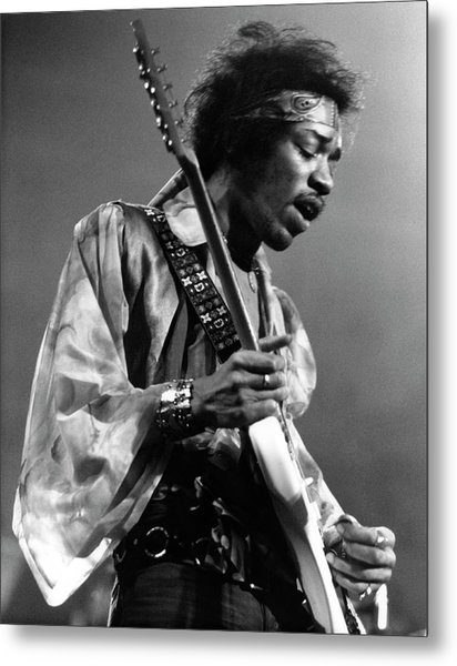 Photo Of Jimi Hendrix And Jimi Hendrix Metal Print