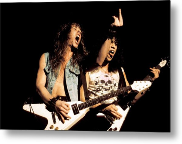 Photo Of Metallica And Kirk Hammett And Metal Print by Pete Cronin