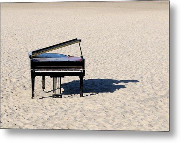 Piano On Beach Metal Print by Hans Joachim Breuer