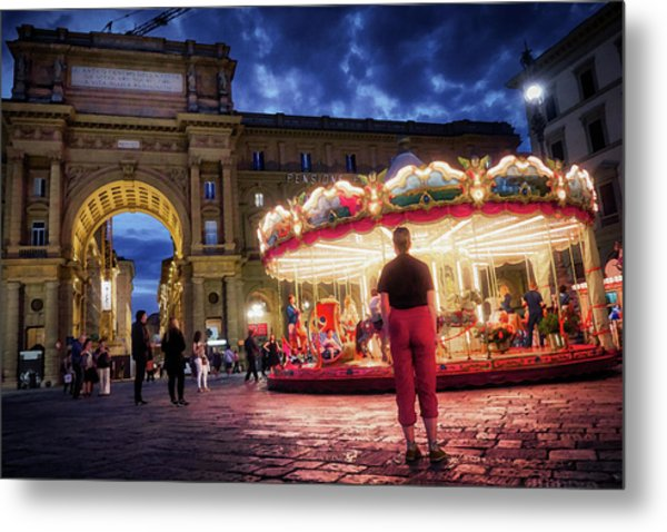 Piazza Della Reppublica At Night In Firenze With Painterly Effects Metal Print