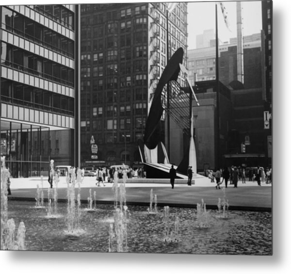 Picasso Sculpture At Chicago In Metal Print by Keystone-france