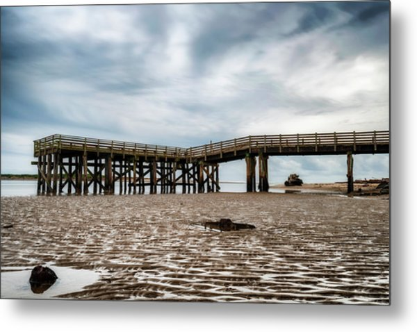 Pier At Low Tide Metal Print