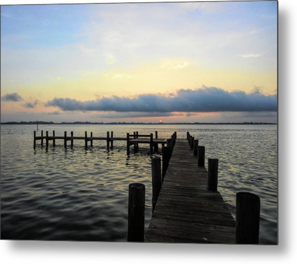Pier Into Morning Metal Print