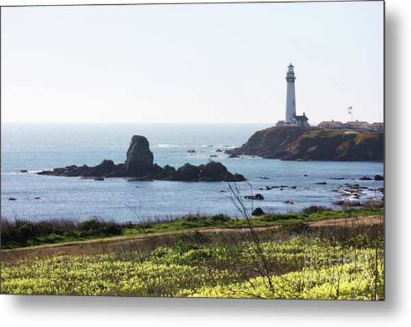 Pigeon Point Lighthouse With Wildflowers Metal Print