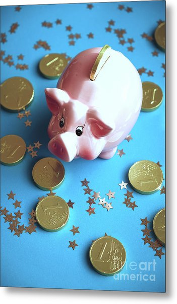 Piggy Bank On The Background With The  Chocoladen Coins Metal Print