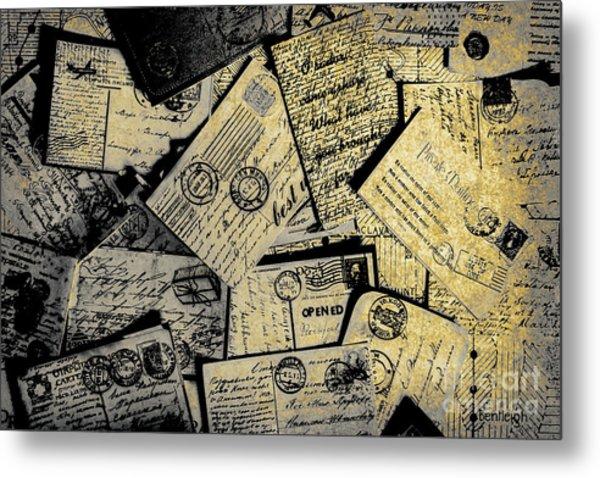 Piled Paper Postcards Metal Print
