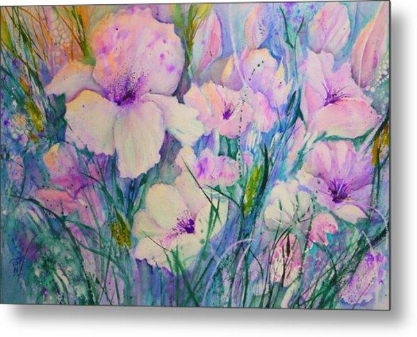 Spring Flower Medley Pink And Purple Metal Print