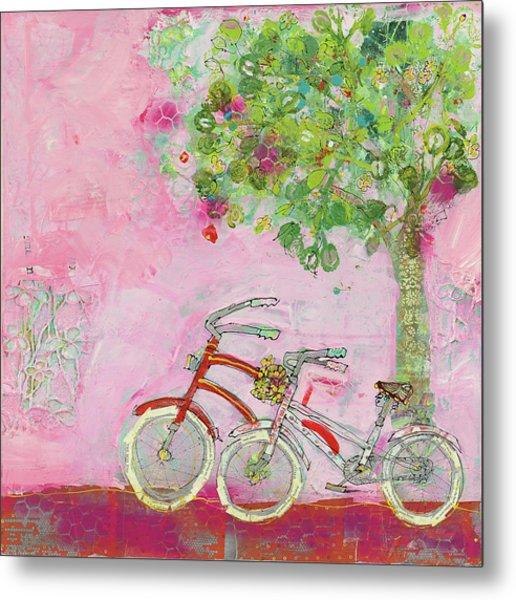 Pink Bicycles Metal Print