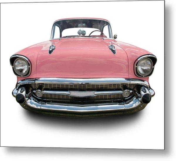 Pink Chevrolet Bel Air 1957 Metal Print by Schlol