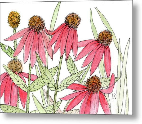 Pink Coneflowers Gather Watercolor Metal Print