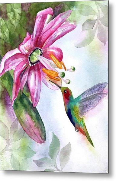 Pink Flower For Hummingbird Metal Print