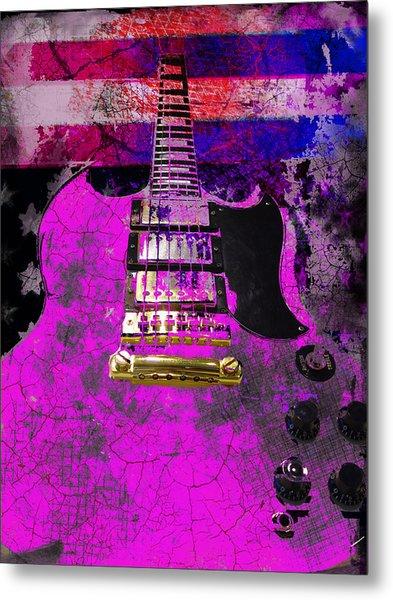 Pink Guitar Against American Flag Metal Print