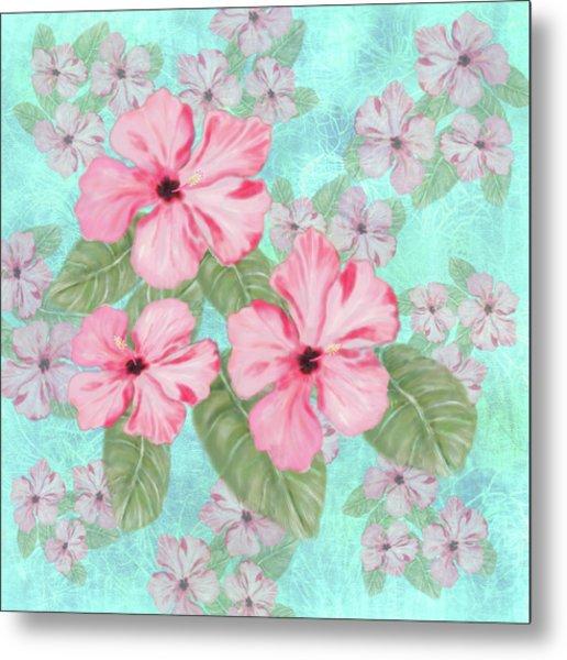 Pink Hibiscus Print On Aqua Metal Print