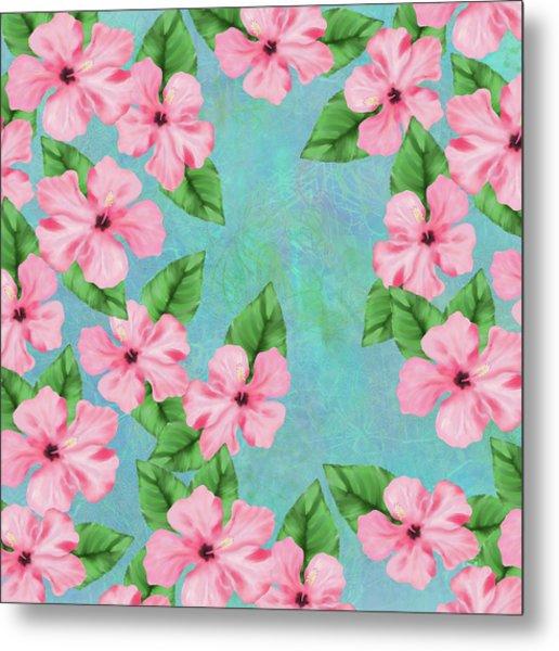 Pink Hibiscus Tropical Floral Print Metal Print
