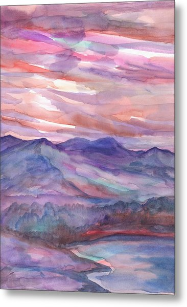 Pink Mountain Landscape Metal Print