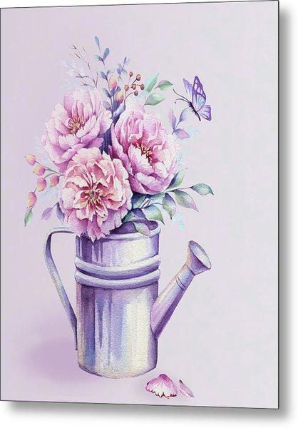 Metal Print featuring the painting Pink Peonies Blooming Watercolour by Georgeta Blanaru