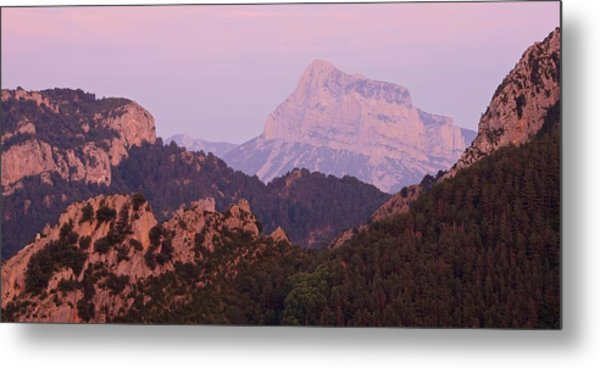 Metal Print featuring the photograph Pink Skies And Alpen Glow In The Anisclo Canyon by Stephen Taylor