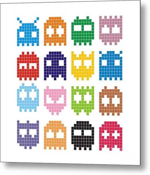 Pixel Monster Icon Metal Print by Lazyvector