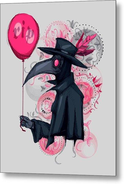 Plague Doctor Balloon Metal Print