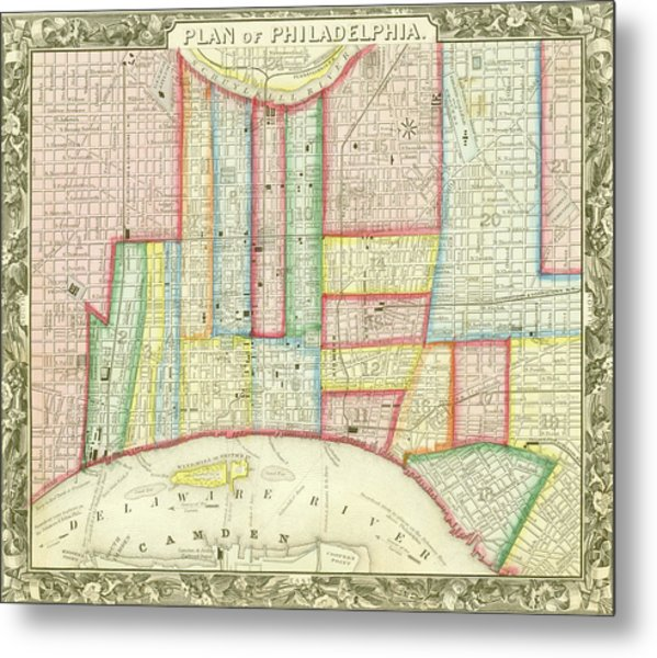 Plan Of Philadelphia, 1860 Metal Print