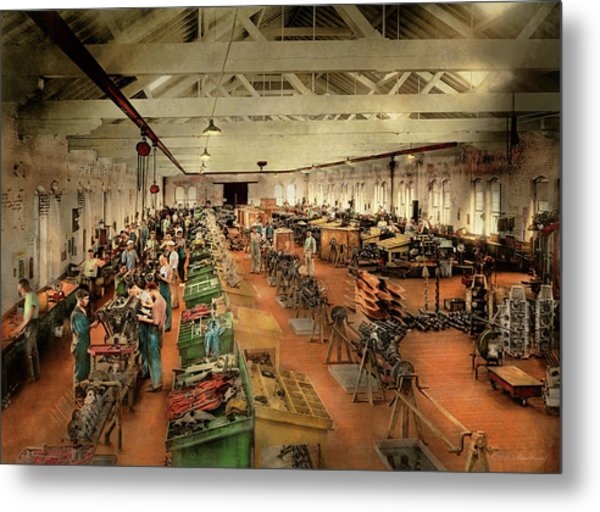Metal Print featuring the photograph Plane - Factory - Aircraft Repair 1919 by Mike Savad