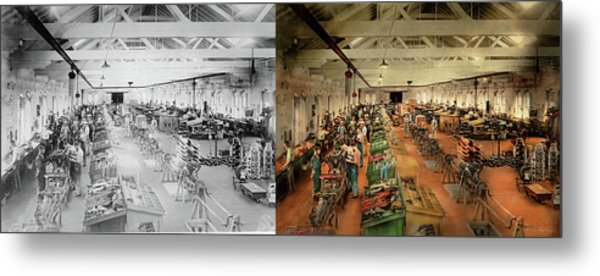 Metal Print featuring the photograph Plane - Factory - Aircraft Repair 1919 - Side By Side by Mike Savad