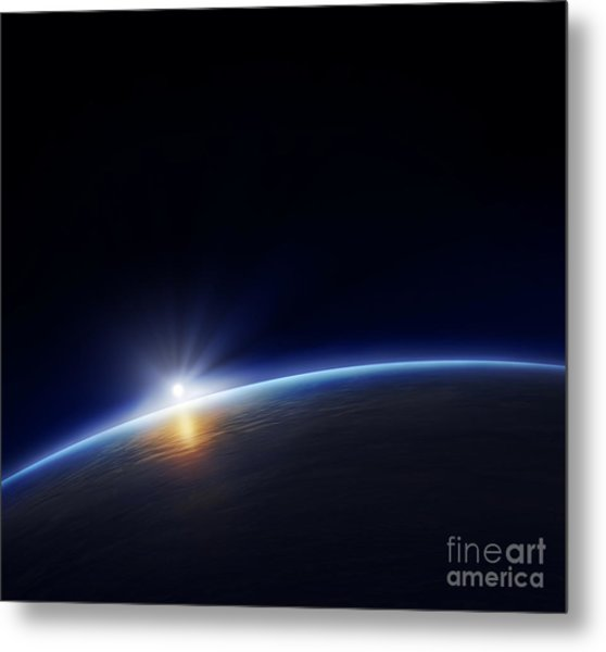 Planet Earth With Rising Sun In Space Metal Print